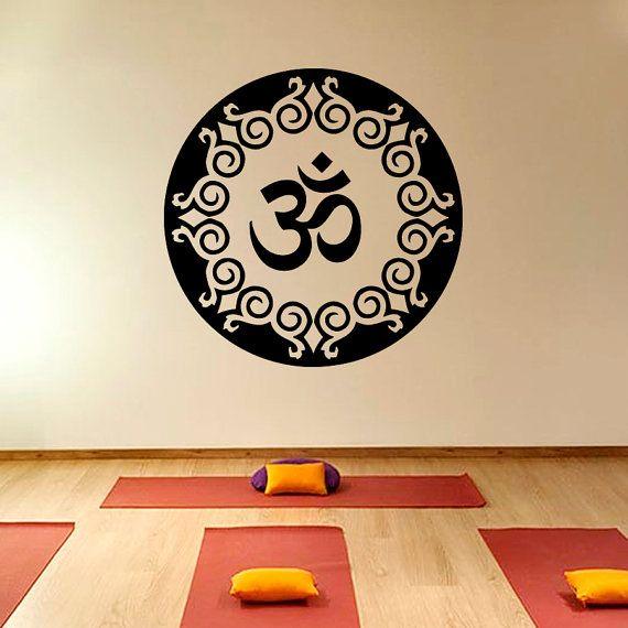 Mandala Oum Om Yoga Wall Decal Vinyl Sticker Wall by CozyDecal, $15.99 Stickers Wall
