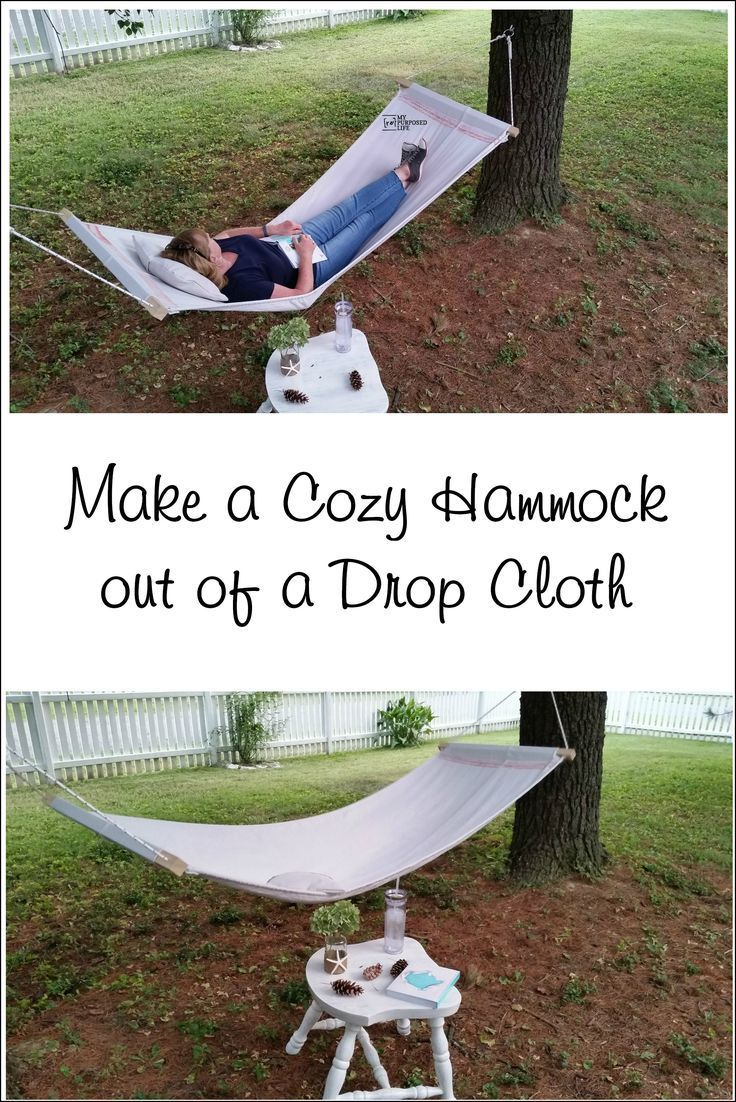 How to make a drop cloth hammock. This single hammock is an easy diy weekend project. If you own a sewing machine, you can make this hammock today.