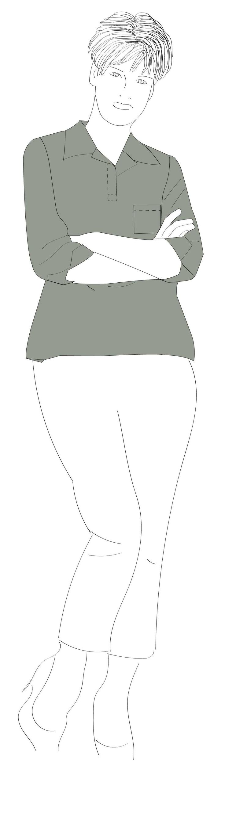 Make your own casual style top with collar and pocket detail.