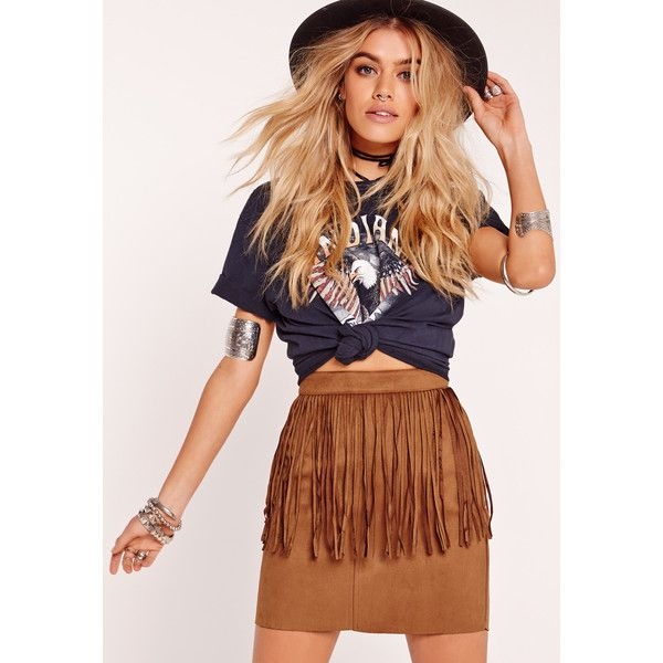Missguided Fringe Faux Suede Mini Skirt ($40) ❤ liked on Polyvore featuring…