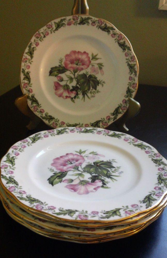 "Royal Albert ""Cotswold"" B&B Plates Pink Flowers Green Leafs White BG #ROYALALBERTFINEBONECHINA"