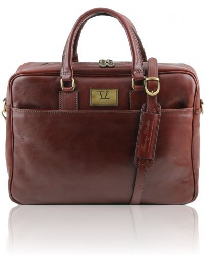 URBINO TL141241 Leather laptop briefcase with front pocket
