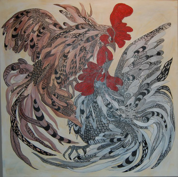 Cockfight Anna Strøm 2016. 100x100cm  Original painting, canvas, acrylic, black ink 900 Euro http://www.design-of-norway.no/ www.snillpike.no