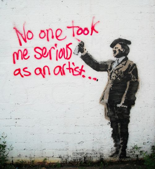 """Banksy's. (JvS: """"war nicht alles schlecht an Hitler. Schliesslich hat er ja Hitler umgebracht."""")"""