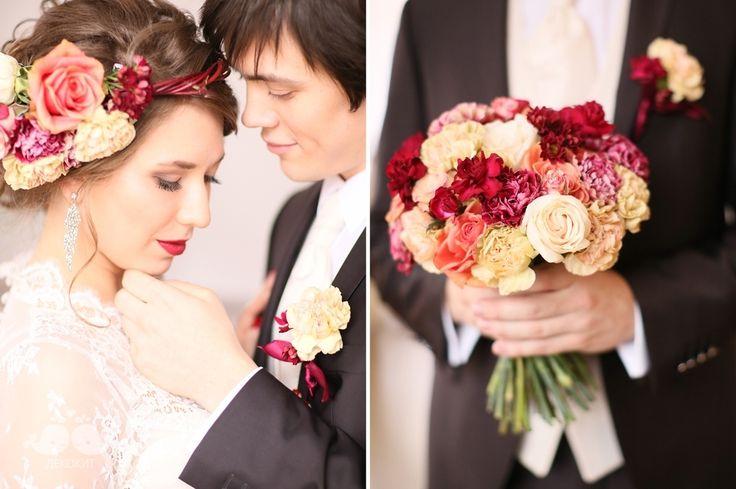 Оформление свадебной фотосессии в винном цвете