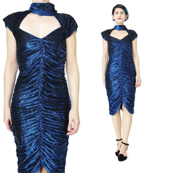 70s 80s Cut Out Neck Bodycon Dress Sparkly Metallic Dress Choker Collar Dress Blue Party Dress Sexy Glam Rock Mini Dress Cut Out Back (XS/S)