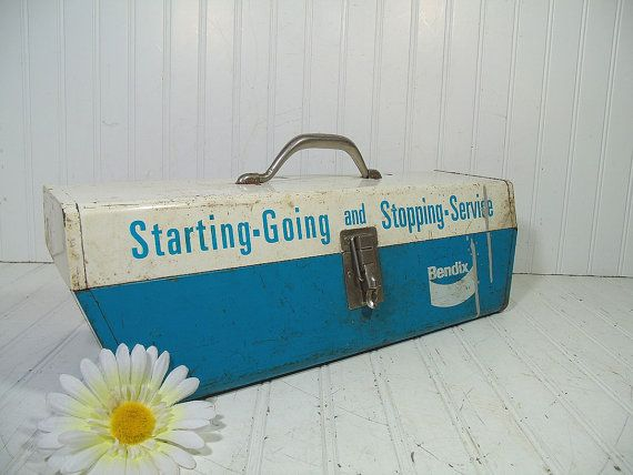 Huge Heavy Duty Chippy Turquoise Enamel Metal Two Level Tool Chest - Vintage Bendix Service Steel Supply Box - Artisan Tools & Supplies Case $49.00 by DivineOrders