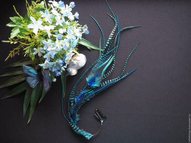 Осеннее море - синие перья для волос на съемной заколке - полосатый, перо, перья