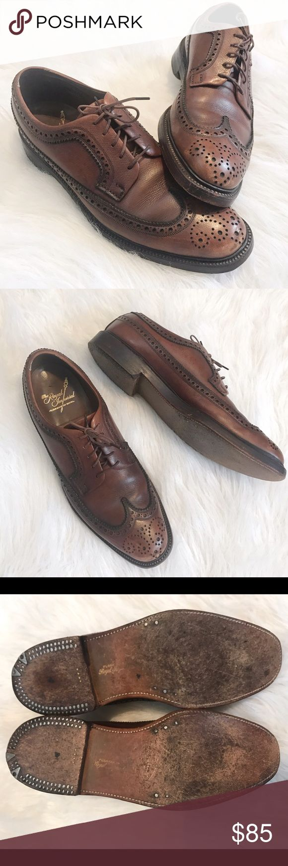 Florsheim Royal Imperial - Leather Wingtips Florsheim Royal Imperial brown leather V-cleat wingtips. In excellent used condition. Some wear in small scuffs to toe, shown in photos. Style number 97604. 5 nail. Made in the USA. Florsheim Shoes Oxfords & Derbys