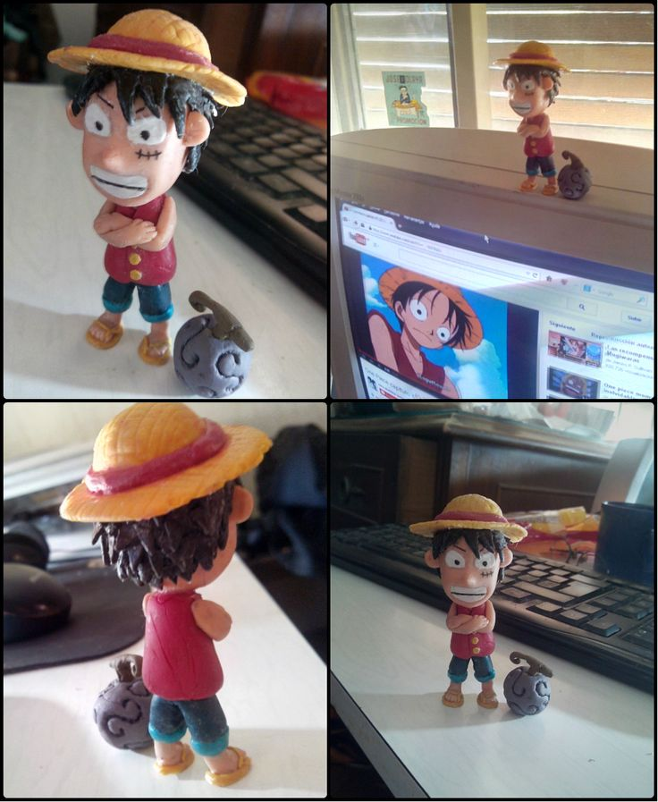 Polymer Clay Luffy Porcelana Fria One Piece Fruta Del Diablo Gomu Gomu Mugiwara Sombrero De Paja