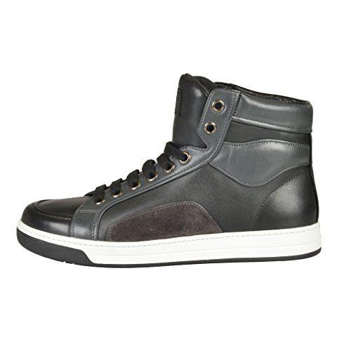 Prada Men's Black Leather Hi Top Fashion Sneakers Shoes