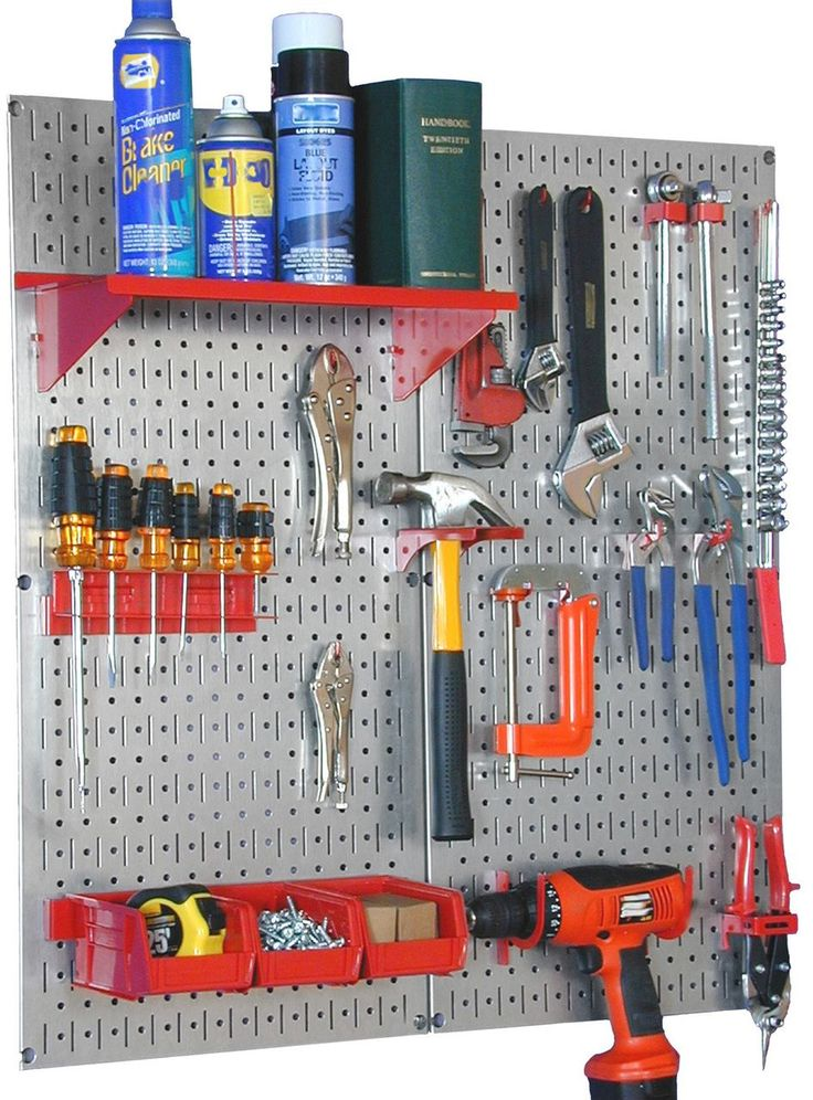 Pegboard Tool Organizer Utility Kit and Garage Wall Peg Board Tool Pegboard System by Wall Control 30-WGL-200 Complete Metal Pegboard System, Workbench Organizer, and complete Garage Steel Pegboard utility kit for Wall Control tool storage and organization.