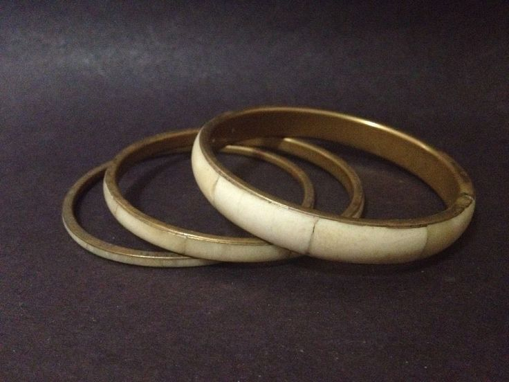 Estate Find - Vintage Pre Owned Set of 3 x Camel Bone & Brass Bangles
