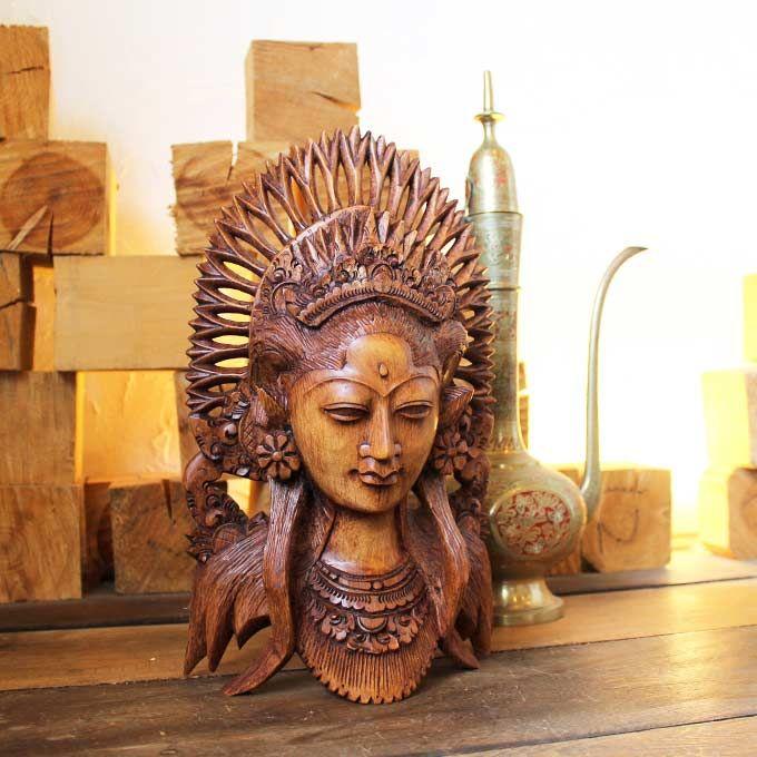 彫刻が美しい バリ島の女性を型どった 木彫りのオブジェ バリニーズ バリ島の彫刻 置物 オブジェ ヒンドゥー教