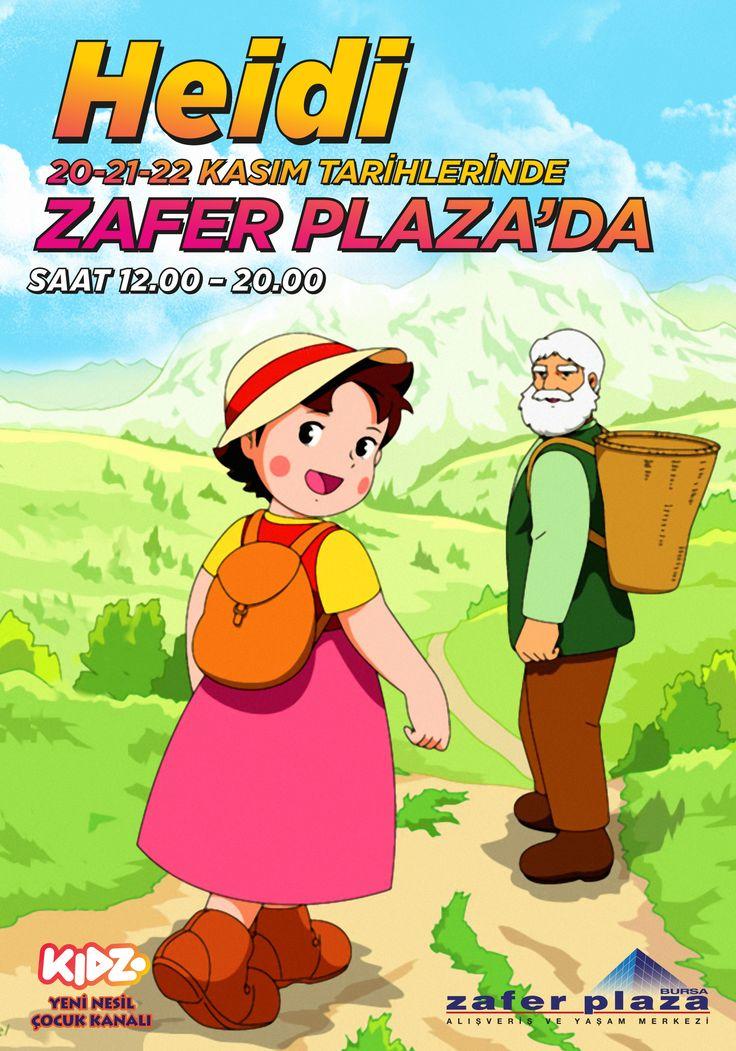 MİNİKLERİN SEVGİLİ ARKADAŞI HEİDİ ZAFER PLAZA'YA GELİYOR...   Heidi 20-21-22 Kasım'da Zafer Plaza'da Çocuklarla Buluşuyor…  Çocukların severek izlediği çizgi film karakteri HEİDİ, 20-21-22 Kasım tarihinde Zafer Plaza AVM'de Bursalı arkadaşlarıyla buluşuyor. Belirtilen tarihlerde 12:00-20:00 saatleri arası 3. çarşı katında kurulacak olan etkinlik alanında HEİDİ ile oyunlar oynayacak minikleri birbirinden güzel eğlenceli aktiviteler bekliyor.