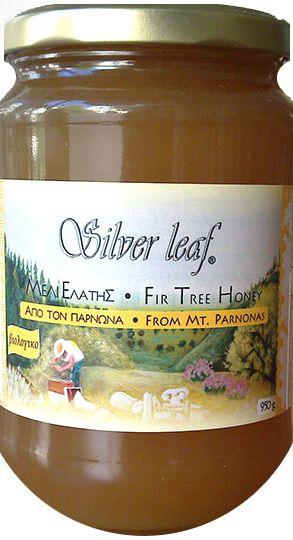 Βιολογικό μέλι Ελάτης από τον Πάρνωνα 'Silver Leaf' 950γρ Το εξαιρετικό μέλι ελάτης του μελισσοπαραγωγού Σταύρου Ντάρμου, είναι ένα αγνό και φυσικό μέλι (δεν είναι ζεσταμένο, φιλτραρισμένο). Το συλλέγουν οι μέλισσες από τις δυτικές πλαγιές του Πάρνωνα οι οποίες είναι κατάφυτες από κωνοφόρα, κυρίως ελάτη. Οι χρυσές ανταύγιες και το ιδιαίτερο άρωμα, αποτελούν δείγμα γεωγραφικής προέλευσης. Ταιριάζει υπέροχα με το Ταχίνι 'Silver Leaf'!