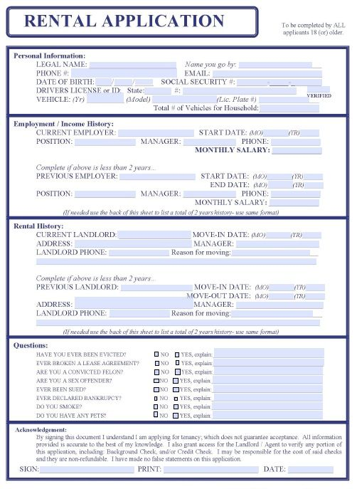 Printable Sample Free Rental Application Form Form