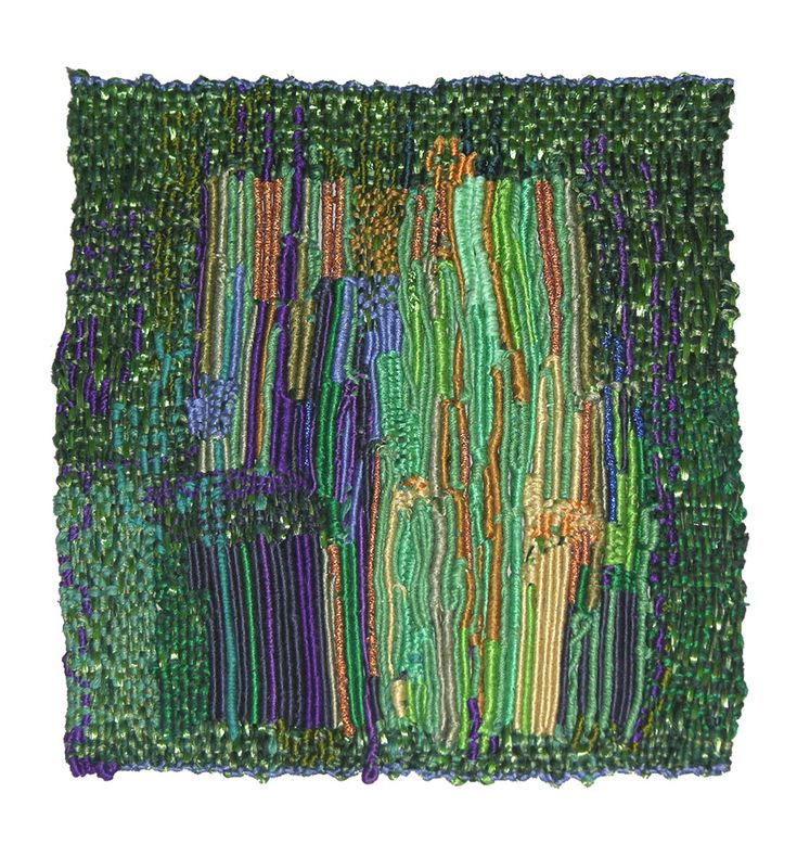 "Sheila Hicks, ""I am not as green as you think,"" 2011. Bamboo, wool, silk, metal. 9.5 x 8.75 inches"