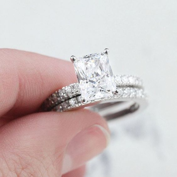 Diamond Solitaire Engagement Wedding Ring 14k White Gold Radiant