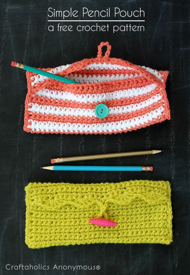 Free crochet pencil pouch pattern. Fun for school!