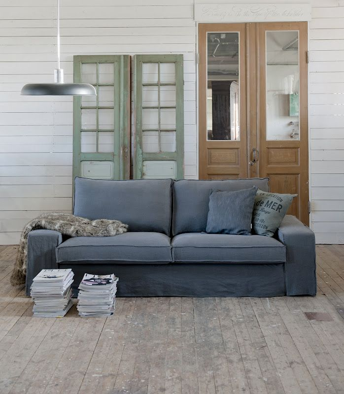 Kivik, 2 Seater sofa cover Loose Fit Urban Grey, Fabrics