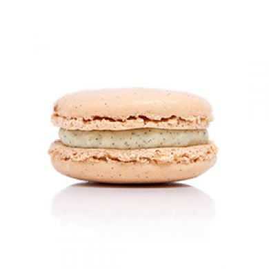 Vanilla Macaron.  Vanilla bean shells filled with a white chocolate and Tahitian vanilla bean ganache