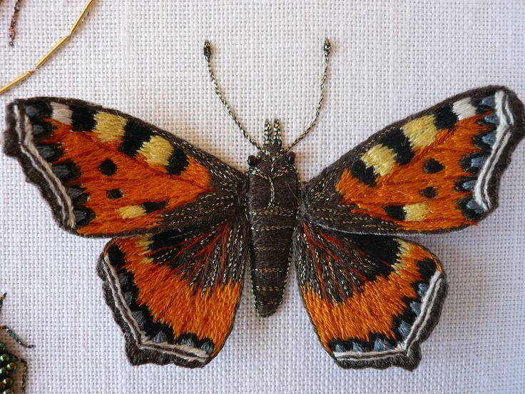 Papillon brodé - Martine Biessy: