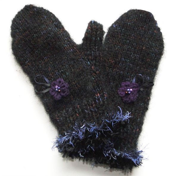 Thick Warm Mohair Mittens - Midnight Black, Unique Christmas Gifts, Quality Greeting Cards, Luxury Christmas Decorations,Trendy Hand Knitted Accessories, Luxury British Made
