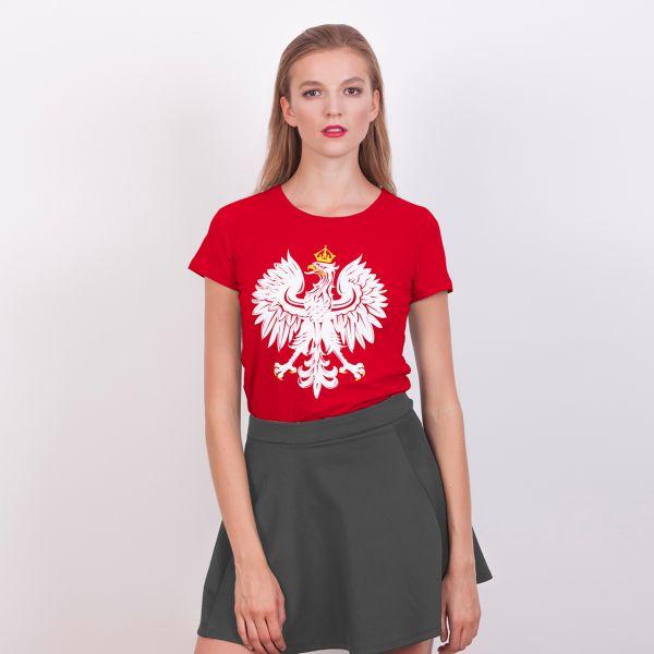 Koszulka damska Orzeł Polski. Koszulka kibica - damska - odzież patriotyczna, damskie koszulki Red is Bad
