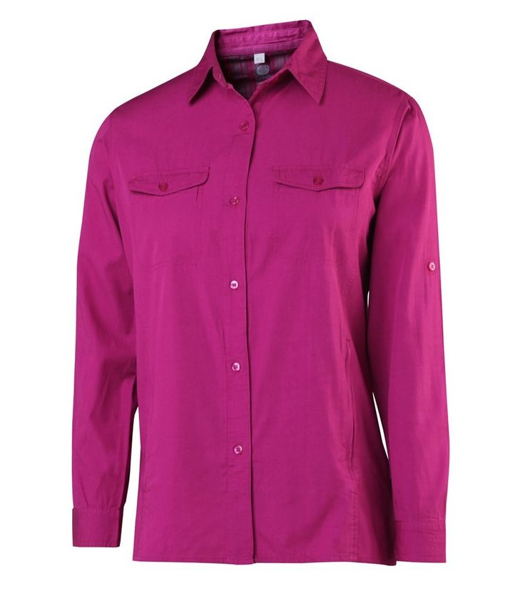 Basic, solid coloured women's long sleeved bambo polo shirt that looks great and feels just as good. It's made of 50% bamboo and 50% cotton so it's soft against the skin whilst being breathable, antibacterial. Regular fit and standard no-fuss design that features button up front, chest patch and concealed zipper pockets, and roll up sleeves with self tab and button closure. Versatile - an easy go-to wear for any occasion!