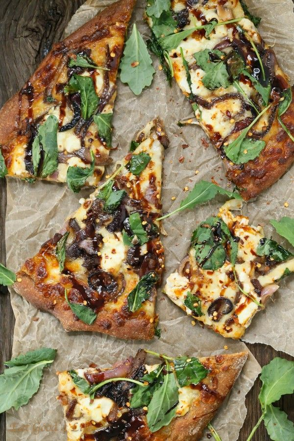 Eat Good 4 Life caramelized onion kale goat cheese pizza with balsamic drizzle. This is made with whole wheat pizza dough. This pizza is out of this world and not only it is healthy but it is gourmet pizza at is best. #vegetarian #recipe #pizza