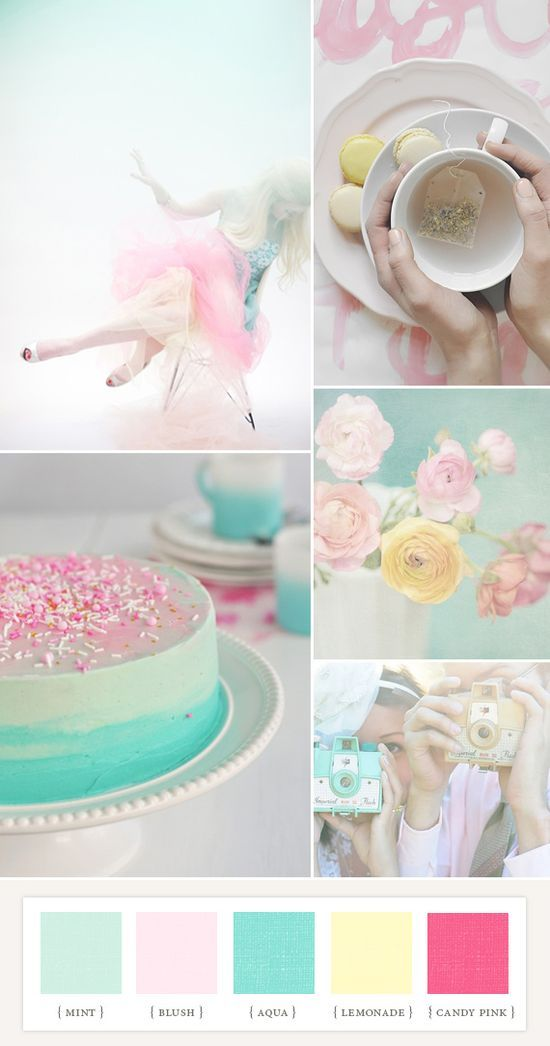 Light turquoise | Minty | Light pink, yellow | pastel palette | photo collage
