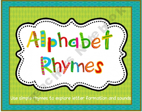 Alphabet Rhymes: Letter Formation and Beginning Sound (Common Core Connections) product from Cathys-Collection on TeachersNotebook.com
