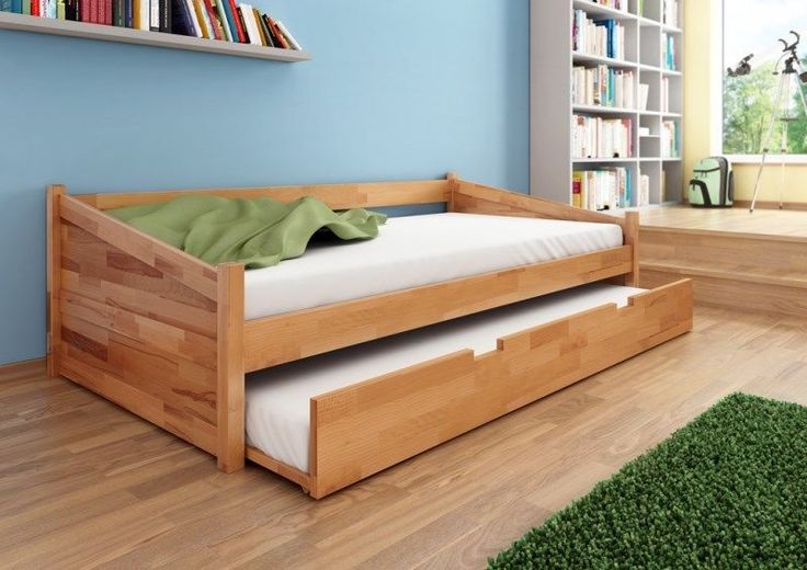Bett Funktionsbett Gästebett Kojenbett Milano 90 x 200 Kernbuche massiv (AKA Trundle Bed)