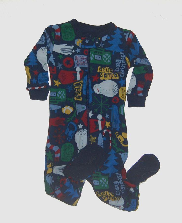 Baby Gap Boys Footed Christmas Pajamas 3-6 NWT NEW NIP #BabyGap