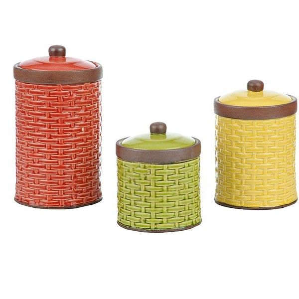 Woven Ceramic Farmhouse Canisters, Set of 3 (€37) ❤ liked on Polyvore featuring home, kitchen & dining, food storage containers, ceramic cannisters, ceramic canisters, food canisters and ceramic food storage containers