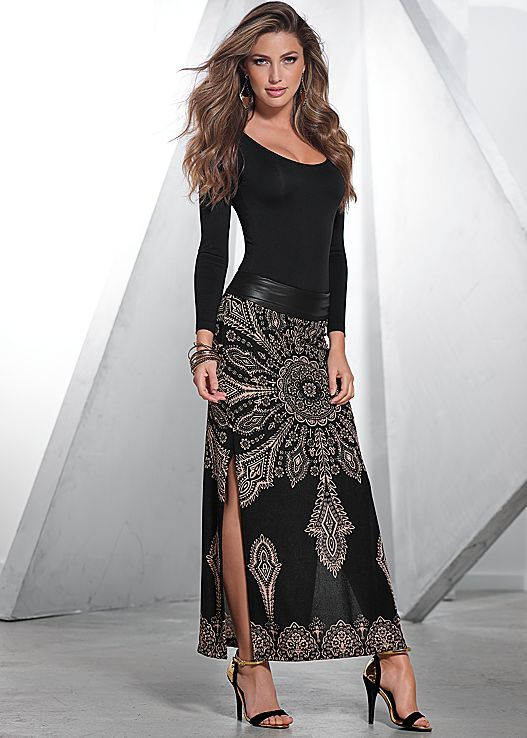 Black Long Sleeve Seamless Top with Black Multi print maxi skirt from VENUS. Both in sizes XS-XL!