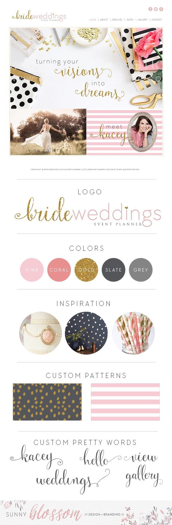 Custom website design, Website design ideas, wedding planner website…
