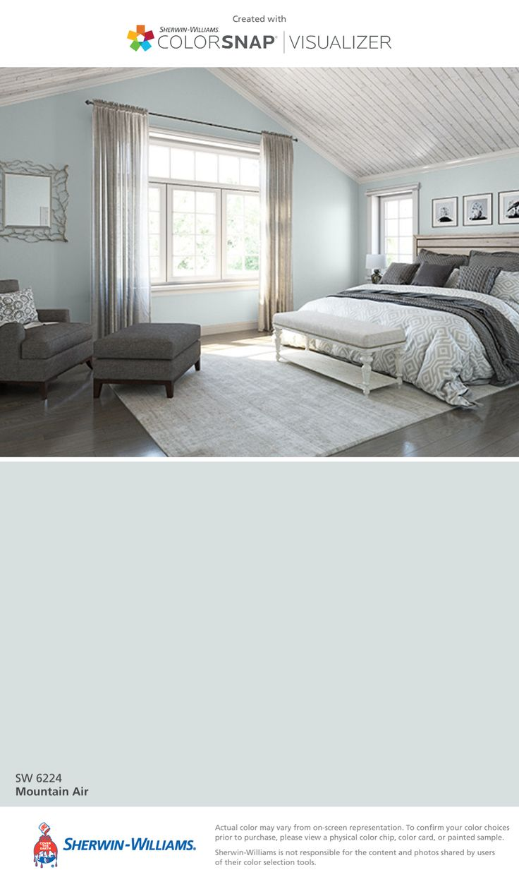 I found this color with ColorSnap® Visualizer for iPhone by Sherwin-Williams: Mountain Air (SW 6224).