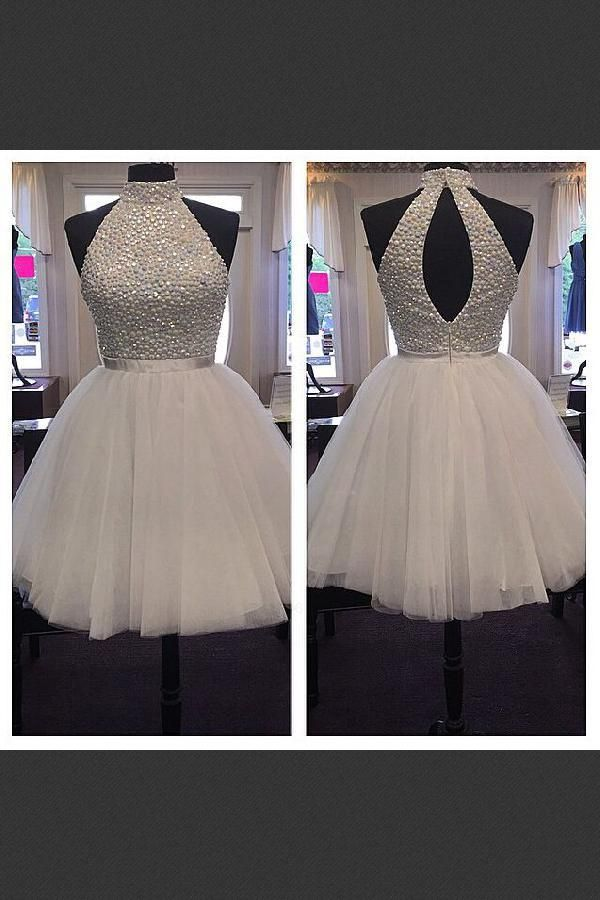 c2e7bdca8a6 Discount Morden Short Halter Beaded Tulle Short Homecoming Dress ...