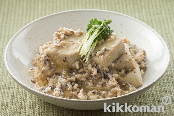 Такано тофу (порядка одного 17g)  четыре  Куриный фарш  100g  сушеные шиитаке  два  Kikkoman специальностей круглый соевый соус сои  1/2 столовой ложки