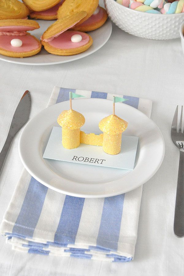 Glitter Sandcastle Place Cards Oh Happy