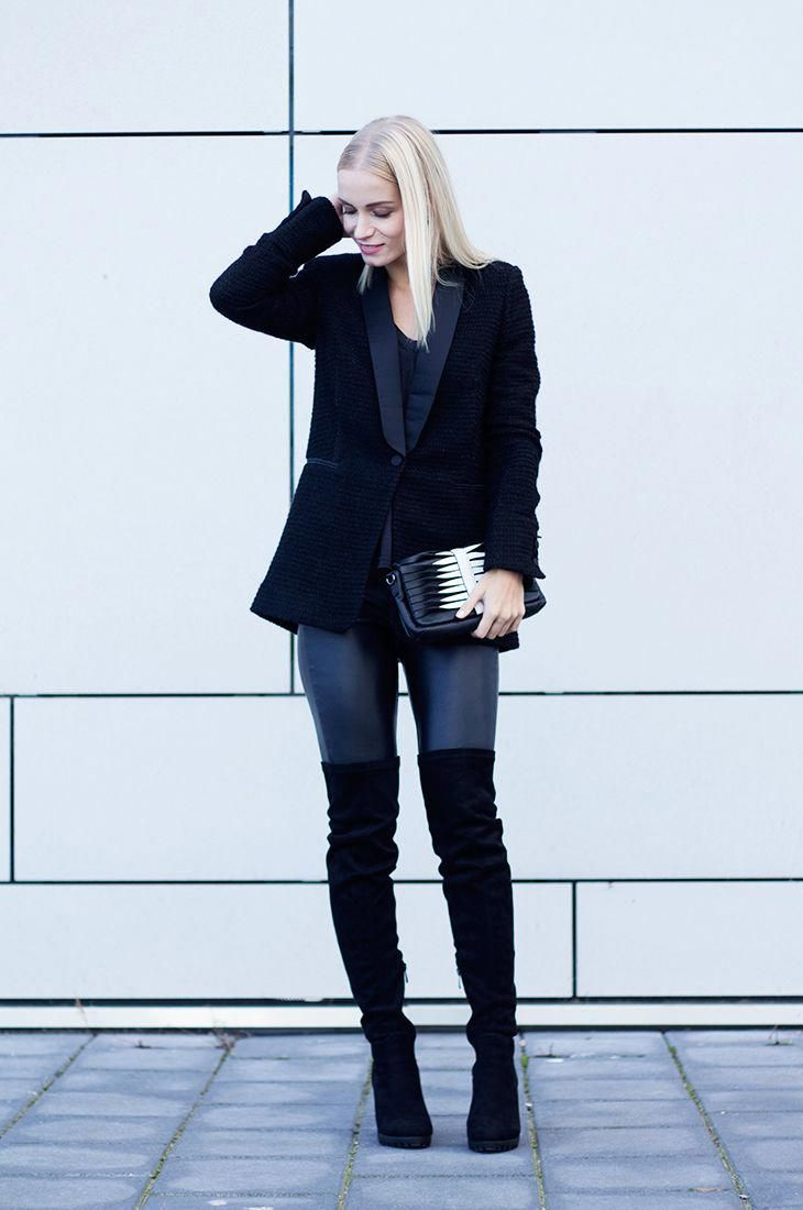 ec008414ce0 Leather trousers can also look great with over the knee boots. Try a black  blazer and bag combination as seen here for a cool and casual look.