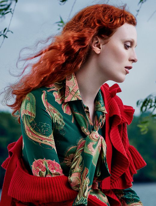 Karen Elson by Rachell Smith for Harper's Bazaar Russia August 2016 - Gucci