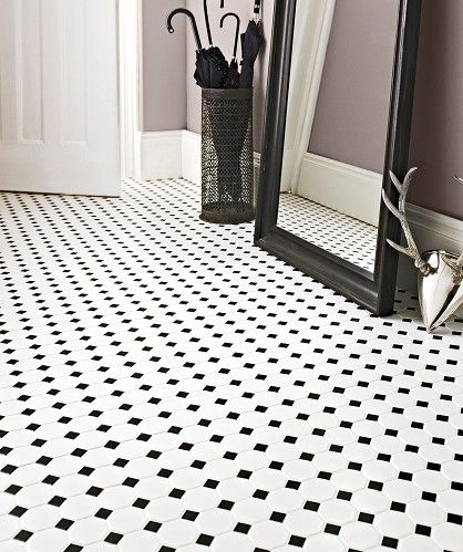 Shapes Octagon Matt White Amp Black Dot Mosaic Floor Main