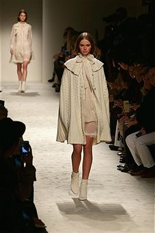 A model walks the runway at the Philosophy Di Lorenzo Serafini show during the Milan Fashion Week Autumn/Winter 2015 on February 27, 2015 in Milan, Italy.