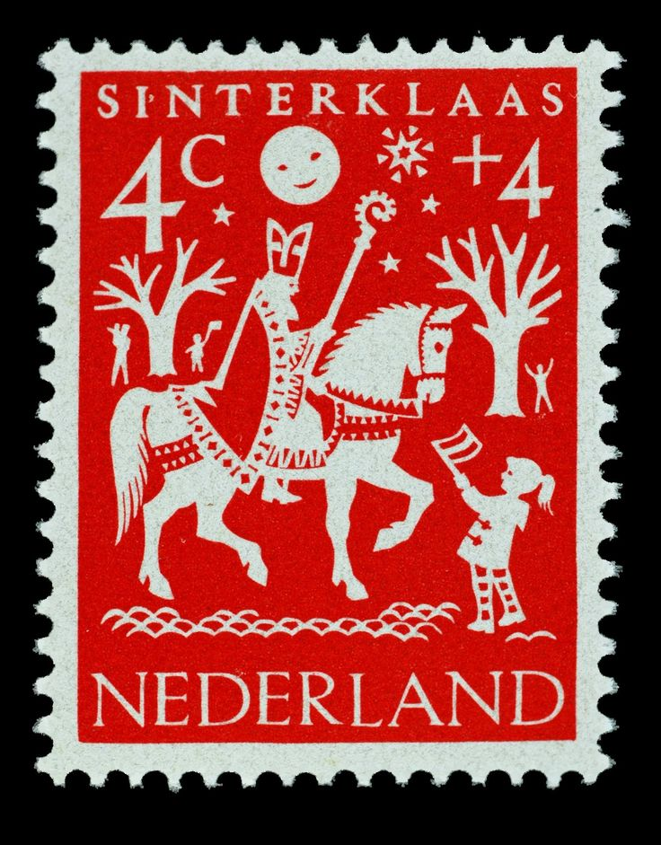 1961 | Hil Bottema | rood | Sinterklaas Welfare Stamp Netherlands. More about stamps: http://sammler.com/stamps/