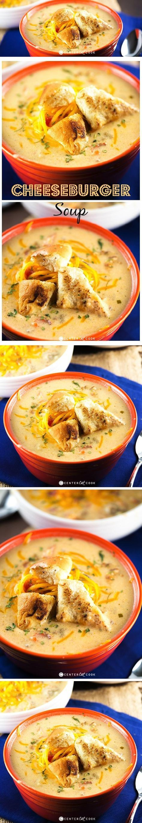 A tasty recipe for Bacon CHEESEBURGER SOUP - a soup filled with hearty cheeseburger flavor, crispy bacon, and plenty of sharp cheddar cheese with instructions to make it in the slow cooker or on the stove.