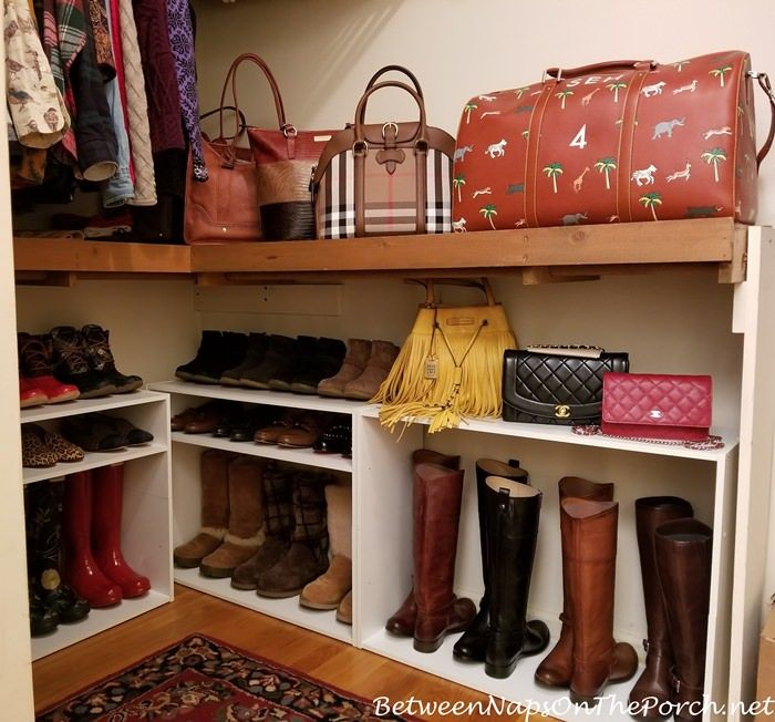 Boot and Shoe Storage made with a combo of shoe racks glued together - some minus a shelf and some upside-down....