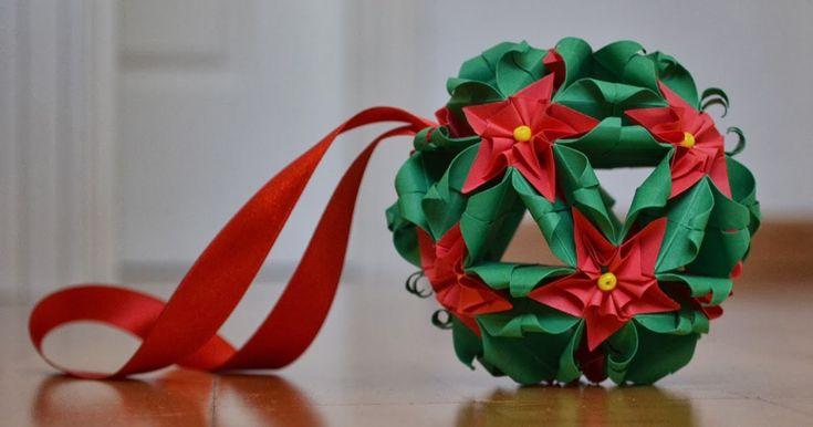 Kusudama, Flor de pascua de papel, flor de navidad de papel,Kusudama de navidad, christmas pascua flower, origami navidad